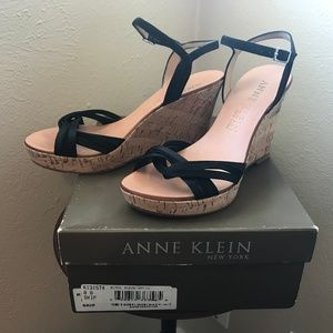 Anne Klein black satin cork wedges wedge heels 8